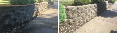 before & after cleaning stone wall